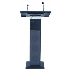 Colonne pupitre amplifiée noire de 40W avec microphone