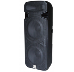 500W portable powered speaker with 2 UHF microphones and USB, SD, MP3, BLUETOOTH