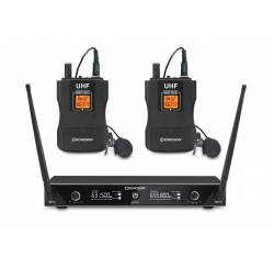 Dual UHF receiver set with 2 lapel microphones