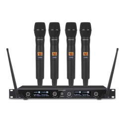 Ensemble récepteur UHF avec 4 microphones à main
