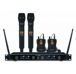 Ensemble récepteur UHF avec 2 microphones main et 2 micro-cravates