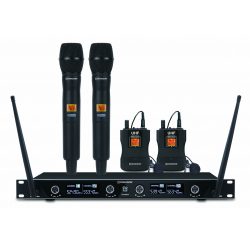 UHF receiver set with 2 hand microphones and 2 lapel microphones
