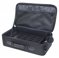 Carrying case with 35 rechargeable compartments for WT-100 system