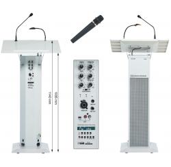 Colonne pupitre amplifiée blanche de 40W avec microphone