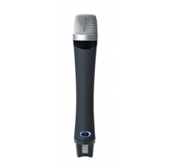 Hand-held UHF transmitter microphone for tour guide system