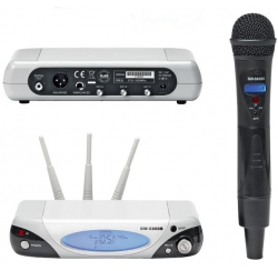 Wireless microphone set with receiver and 5.8 GHz handheld microphone