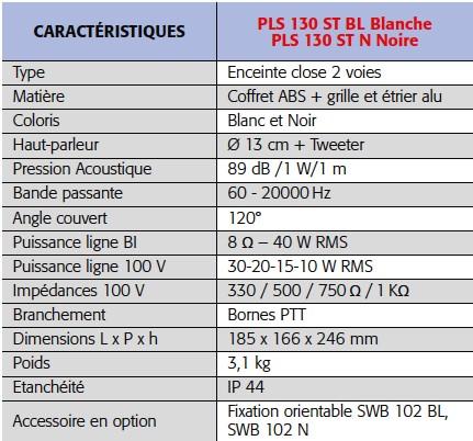 Caratcéristiques techniques de l'enceinte PLS 130 Rondson